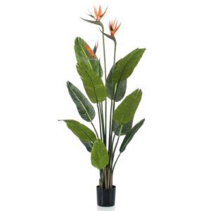Emerald Artificial Plant Strelitzia in Pot with Flowers 120 cm