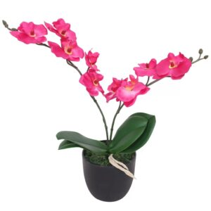 vidaXL Artificial Orchid Plant with Pot 30 cm Red