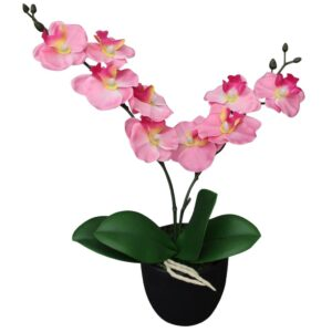 vidaXL Artificial Orchid Plant with Pot 30 cm Pink