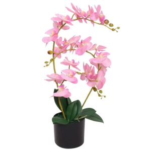 vidaXL Artificial Orchid Plant with Pot 65 cm Pink