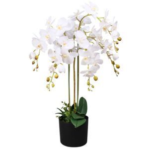 vidaXL Artificial Orchid Plant with Pot 75 cm White