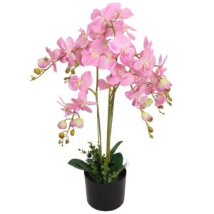 vidaXL Artificial Orchid Plant with Pot 75 cm Pink