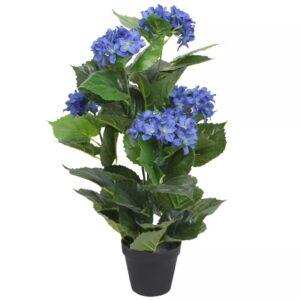 vidaXL Artificial Hydrangea Plant with Pot 60 cm Blue