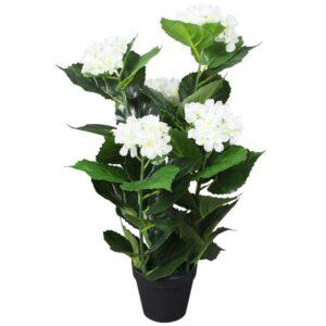vidaXL Artificial Hydrangea Plant with Pot 60 cm White