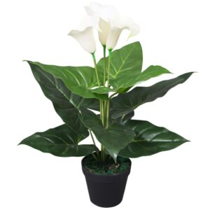 vidaXL Artificial Calla Lily Plant with Pot 45 cm White