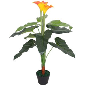 vidaXL Artificial Calla Lily Plant with Pot 85 cm Red and Yellow