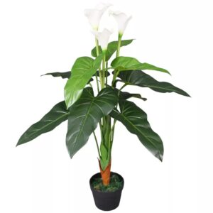 vidaXL Artificial Calla Lily Plant with Pot 85 cm White