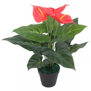 vidaXL Artificial Anthurium Plant with Pot 45 cm Red and Yellow