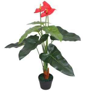 vidaXL Artificial Anthurium Plant with Pot 90 cm Red and Yellow