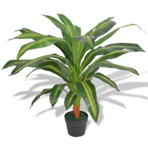 vidaXL Artificial Dracaena Plant with Pot 90 cm Green
