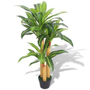 vidaXL Artificial Dracaena Plant with Pot 100 cm Green