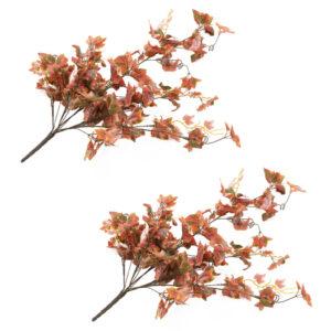 vidaXL Artificial Leaves Grape 2 pcs Red 90 cm