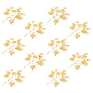 vidaXL Artificial Leaves Maple 10 pcs Gold 75 cm