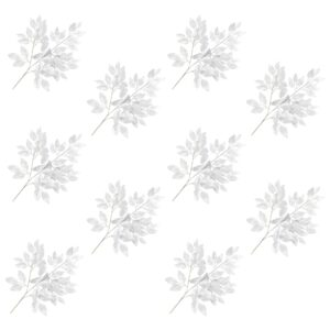 vidaXL Artificial Leaves Ficus 10 pcs Silver 65 cm