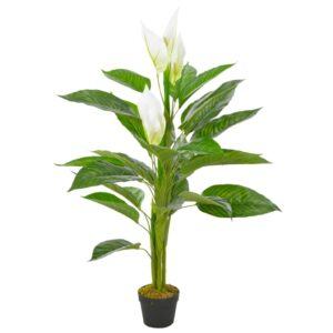 vidaXL Artificial Plant Anthurium with Pot White 115 cm