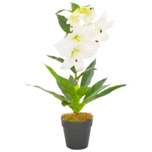 vidaXL Artificial Plant Lily with Pot White 65 cm