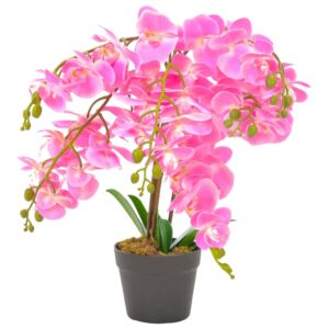 vidaXL Artificial Plant Orchid with Pot Pink 60 cm