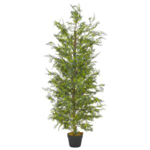 vidaXL Artificial Plant Cypress Tree with Pot Green 150 cm
