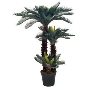 vidaXL Artificial Plant Cycas Palm with Pot Green 125 cm