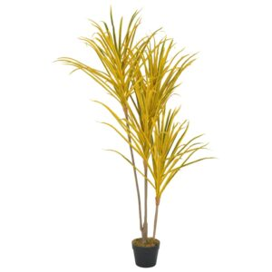vidaXL Artificial Plant Dracaena with Pot Yellow 125 cm