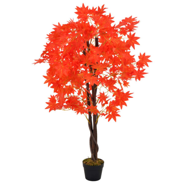 vidaXL Artificial Plant Maple Tree with Pot Red 120 cm