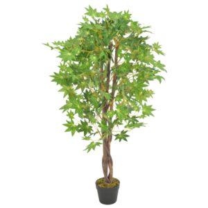 vidaXL Artificial Plant Maple Tree with Pot Green 120 cm
