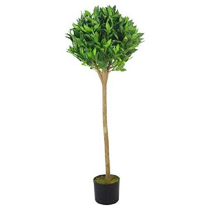 Leaf Luxury Artificial Bay Laurel Tree Topiary Ball-120cm (4ft) Tall, Green Deluxe, 120cm