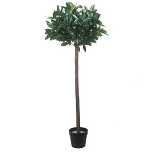 Pair Of Artificial Bay Laurel Trees - 4Ft High Tree With Real Wood Trunk And Natural Leaf Indoor Or Outdoor Decorative Replica Plant 120Cm(Green,2)