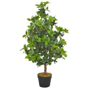 vidaXL Artificial Plant Laurel Tree with Pot Home Office Indoor Outdoor Authentic Realistic Faux Fake Flower Greenery Decoration Green 90cm