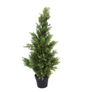 Leaf Artificial Cypress Topiary Tree UV Protected, Cedar Extra Bushy, 95cm