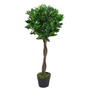 Leaf LEAF-7207 Artificial Stem Topiary Bay Tree Laurel Ball Style in Black Plastic Pot, Green Twist, 90cm (3ft)