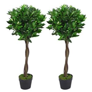 Leaf LEAF-7207-PAIR Pair Stem Artificial Topiary Bay Laurel Ball Trees, Green Twist, 90cm (3ft)
