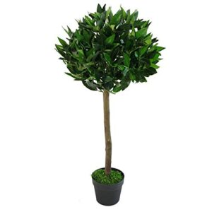 BISEN 1 X Artificial Faux Bay Laurel Tree (120c, 4ft) One Tree with Pots Natural Real Wood Trunk and Leaves Garden Indoor Outdoor Plants Ornaments Premium Quality Appearance