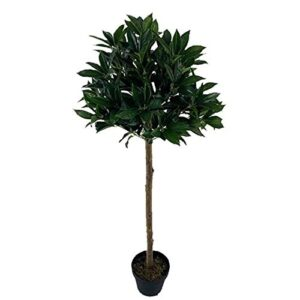 Artificial Laurel Plant Trees In Pot, Large 4Ft Tall Indoor Decoration, Realistic Lush Green Leaves, for Indoor Outdoor Garden Home Office Restaurant (2 Pack)