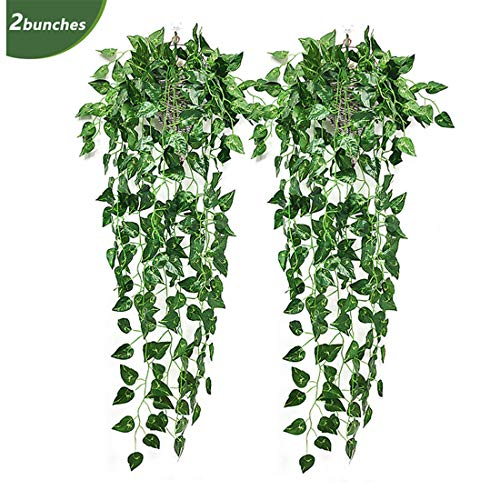 Adisputent 2 Pack Artificial Hanging Plant Ivy Fake Flower Garland Vine Greenery Green Leaves Wedding Home Wall Decoration Green dill