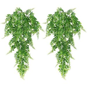 JPGhaha 2 Pack Artificial Hanging Ferns Plant 83cm Plastic Persian Rattan Fake Trailing Hanging Plant Faux Hanging Boston Ferns Flowers Vine Outdoor Wall Indoor Hanging Baskets Wedding Garland Decor