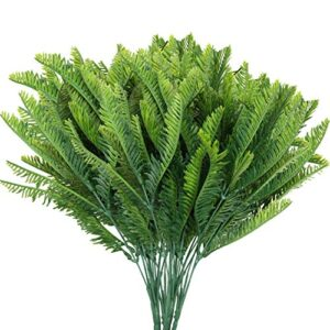 BELLE VOUS Plastic Artificial Faux Hanging Boston Fern Plants (6 Pack) - Outdoor/Indoor Fake Greenery Ferns for Home, Garden, Vine Wall Basket, Bushes/Shrubs, Wedding Garland and Office Decor