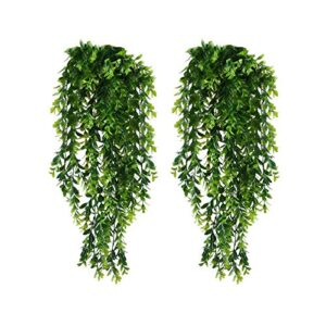 KingYH 2 Pack Artificial Hanging Vines Plants Plastic Fake Trailing Weeping Ivy Vine Greenery Drooping Plant for Wall Indoor Outside Garden Wedding Hanging Pot Basket Decoration