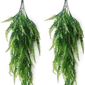 JaneYi 2 Piece Artificial Boston Fern Plastic Plant Vine Foliage Fake Weeping Willow Ivy Artificial Hanging Ferns Plant Greenery Leaf for Indoor Outside Home Office Cafe Wall Garden Trellis Decor