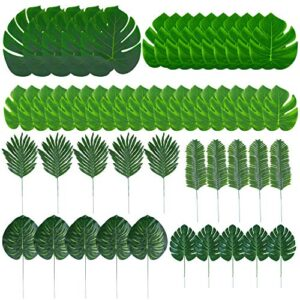 Tupa 100 Pieces 7 Kinds Artificial Palm Leaves Hawaiian Party Decorations Faux Monstera Leaves Stems Tropical Plant Simulation Safari Leaves for Luau Party Jungle Beach Theme Party (100)