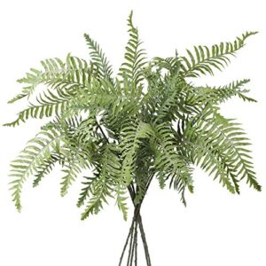 """Artificial Boston Fern Faux Moss Coated Fern Plants Shrubs Fake Fern Leaves Persian Grass Simulation Fake Bushes for Indoor Home Garden Table Centerpieces Arrangements Decoration 30"""" Long 3 PCS"""