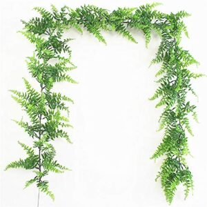 Fycooler Faux Boston Ferns,Artificial Plants Vines Hanging Leaves Artificial Greenery Garland/Wreath 190cm in Length for Wedding Backdrop Arch Wall Decorations Studio Garden Home Décor