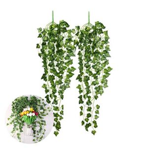 """CCINEE 2 Pieces 35.4"""" Artificial Ivy Hanging Vine Plant Leaves Garland for Christmas Wedding Party Garden Wall Decoration"""