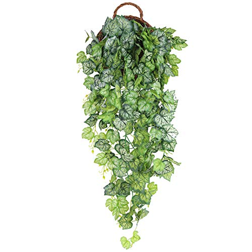 Hawesome artificial Hanging Plant Ivy Vines Trailing Plant Ivy Garland Wall Leaves Greenery Garden Decoration 1 Set without basket