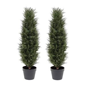 """momoplant Artificial Ceder Trees Fake Cypress artificial tree fake tree outdoor plants topiary trees artificial outdoor fake outdoor plants Cedar Tree Silk Tree,Home Office Decor 35"""" Inchs-90CM"""