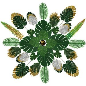 GUIFIER 86 Pcs Artificial Palm Leaves with Faux Monstera Leaves Stems Tropical Plant Simulation Safari Leaves, for Home Wall Garden Wedding Home Party Corridor Indoor Outdoor Decoration