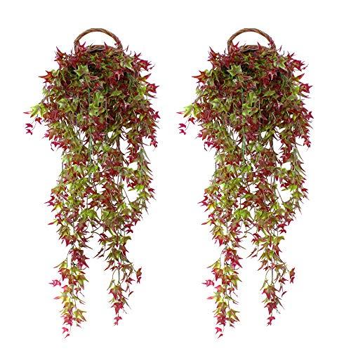 FUJIE 2 Pcs Artificial Ivy Vine Artificial Plants Fake Ivy Hanging Garland Trailing Bracket plant for Outdoor Indoor Hanging Basket Decor