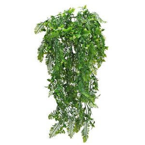 XHXSTORE 2 Pack Artificial Hanging Vines Plants Boston Fern Leaves Plastic Gypsophila Flowers Fake Ivy Vine Trailing Weeping Greenery Drooping Plant Garland for Wall Indoor Outdoor Basket Decoration