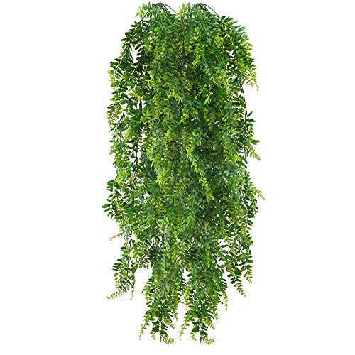 HUAESIN 2 Pcs Artificial Trailing Plants Fake Fern Trailing Plants Long Faux House Plants Platic Hanging Plants Kimberly Queen Boston Fern for Wall Basket Home Garden Hanging Decor 115cm