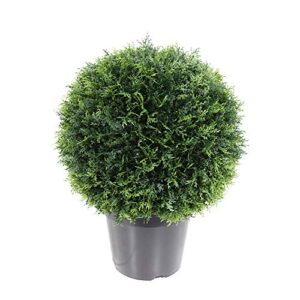 momoplant Artificial Cypress Ball Plant Round Cedar Cypress Topiary Tree Plants Indoor Outdoor Realistic Potted Shrub Décor 20.8 Inchs With Black Pot